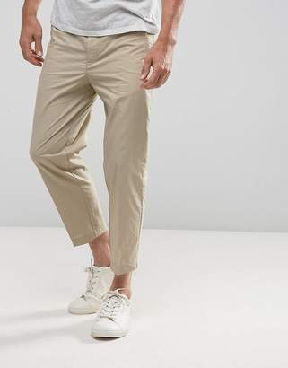 Kiomi Slim Fit Cropped Chino In Beige
