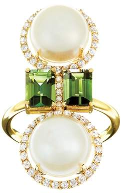 Nadine Aysoy Elle Et Lui Green Double Pearl Ring