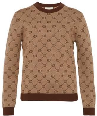 Gucci Gg Knit Wool Blend Sweater - Mens - Brown