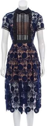 Self-Portrait Floral Lace Short-Sleeve Dress