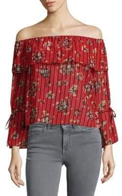Miss Selfridge Floral Off-The-Shoulder Blouse