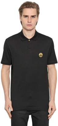 Versace Medusa Detail Embroidered Piqué Polo
