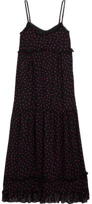 McQ Alexander McQueen - Ruffled Polka-dot Georgette Midi Dress - Black $550 thestylecure.com