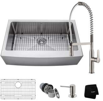 Kraus KRAUS Kitchen Combo with 33 Inch Single Bowl 16 Gauge Stainless Steel Kitchen Farmhouse Sink and Nola Commercial Kitchen Faucet with Soap Dispenser in Stainless Steel