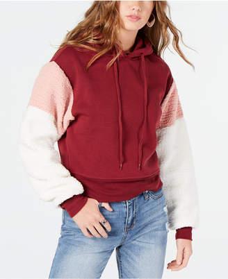 Self Esteem Juniors' Faux Fur-Sleeve Sweatshirt
