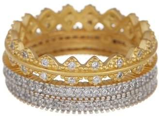 Freida Rothman 14K Gold Vermeil Harlequin Edge CZ Ring Set - Set of 3 - Size 5