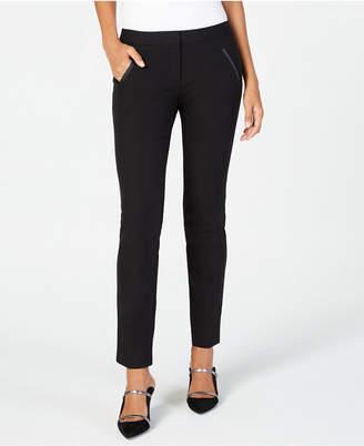 Alfani Petite Faux-Leather-Detail Pants