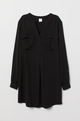 H&M V-neck Viscose Tunic - Black