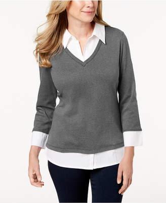 Karen Scott Petite Cotton Layered Knit Top