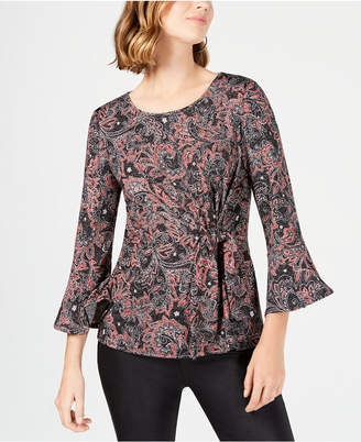 NY Collection Petite Paisley-Print Knot-Front Top