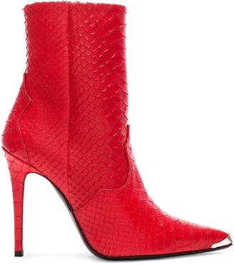 Amiri Western Embossed Snakeskin Boots in Red | FWRD