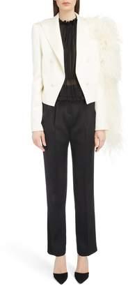 Magda Butrym Ostrich Feather Sleeve Silk & Wool Blazer