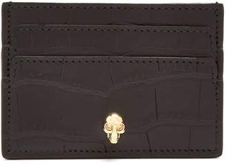 Alexander McQueen Skull-plaque crocodile-effect leather cardholder