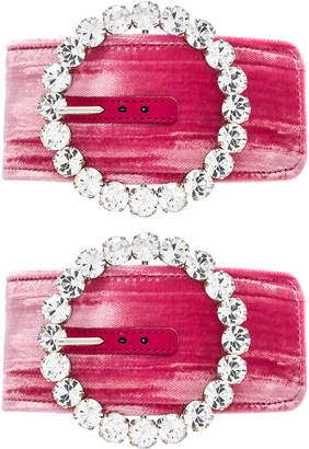 Crystal Buckle Anklet Cuff in Pink | FWRD