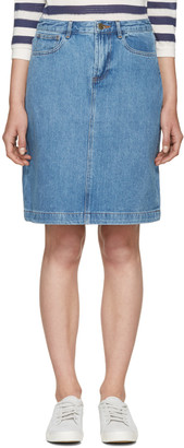 A.P.C. Blue Denim High Standard Miniskirt $165 thestylecure.com