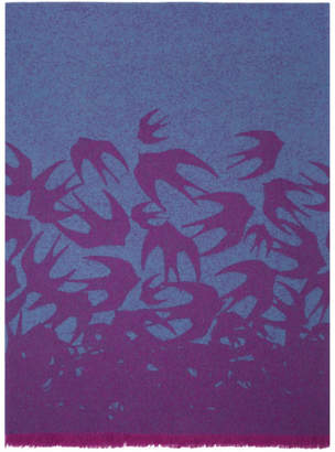 McQ Blue and Purple Swallow Degrade Scarf