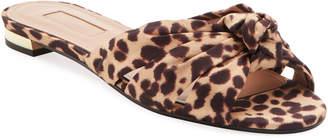 Aquazzura Menorca Leopard-Print Knotted Flat Sandals