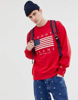 8f7ff4bc9 Tommy Jeans US Flag Capsule logo print crew neck sweatshirt in red