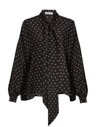 Balenciaga Bb Print Tie Neck Silk Blouse - Womens - Black Print
