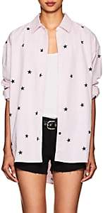 Current/Elliott Women's Mira Star-Print Cotton Oxford Blouse - Pink