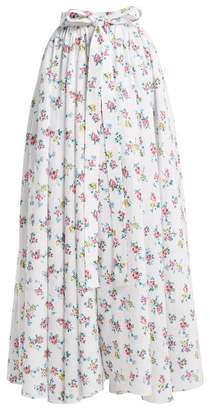 Emilia Wickstead Evelyn Floral Print Linen Maxi Skirt - Womens - White Print
