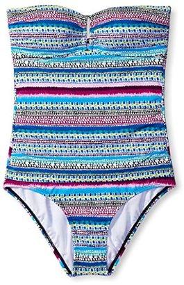 Jantzen Women's Painted Stripe Bandeau One-Piece with Hardware $33.04 thestylecure.com