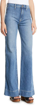 Alice + Olivia Ao.La By Alice+Olivia Gorgeous High-Rise Wide-Leg Jeans w/ Rainbow Pockets