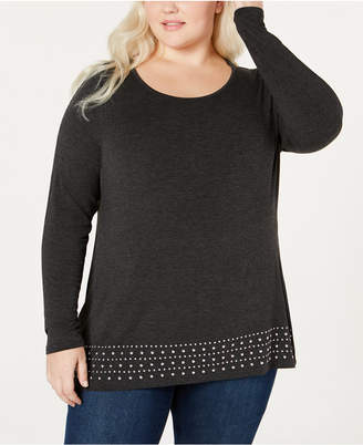 Belldini Belle by Plus Size Embellished Knit Top