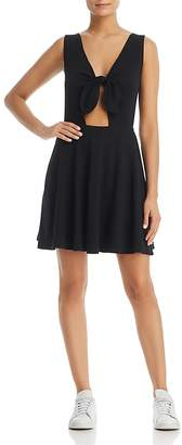 Three Dots Knot-Front Fit-and-Flare Dress