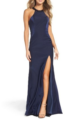 Women's La Femme Embellished Jersey Gown $398 thestylecure.com