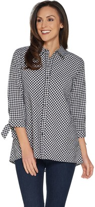 Susan Graver Yarn Dyed Gingham Button Front Shirt