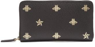 Gucci Bee-print zip-around leather travel wallet
