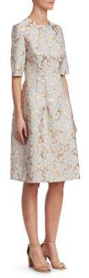 Lela Rose Holly Floral Matelasse Dress