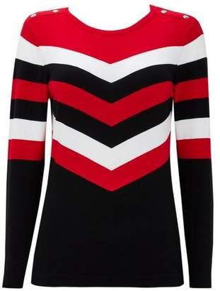 Wallis Red Striped Colour Block Jumper
