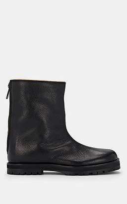 Maison Margiela Women's Shearling-Lined Leather Ankle Boots - Black