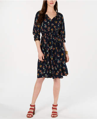 Style&Co. Style & Co Printed Tassel-Tie Midi Dress, Created for Macy's