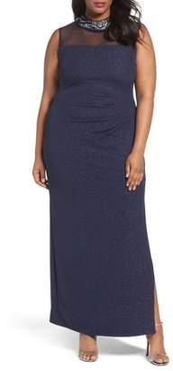 Marina Glitter Ottoman Knit Sheath Gown