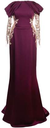 Marchesa satin gown with embellished cut-out