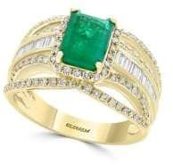 Effy Brasilica Rectangular Natural Emerald, Diamond and 14K Yellow Gold Ring
