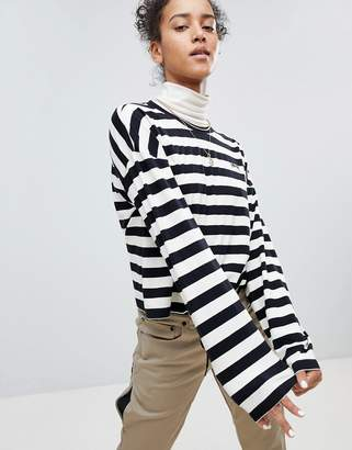 Stussy Long Sleeve Top In Stripe With Logo