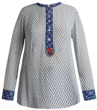 Figue Milagro Paisley Print Silk Chiffon Shirt - Womens - Blue Multi