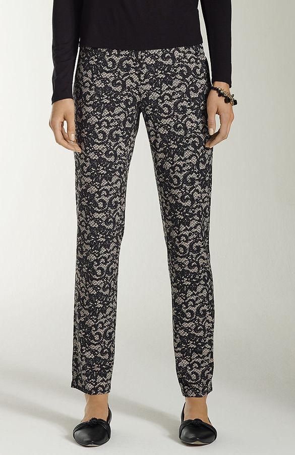 J. Jill Wearever lace-print slim ankle pants