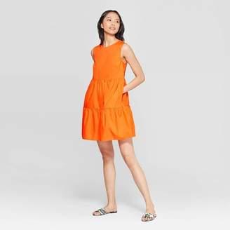Who What Wear Women's Sleeveless Crewneck A Line Tiered Mini Dress Orange