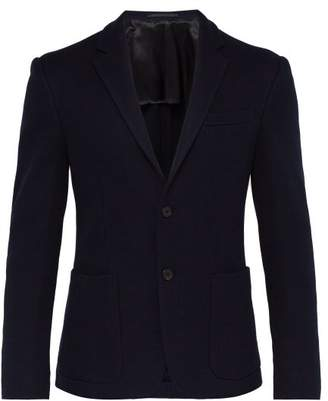 Prada Single Breasted Waffle Knit Cotton Blazer - Mens - Navy