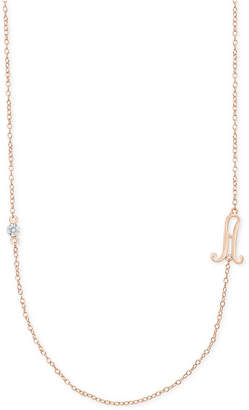 Macy's Diamond Accent Initial Pendant in 18k Rose Gold-Plated Sterling Silver