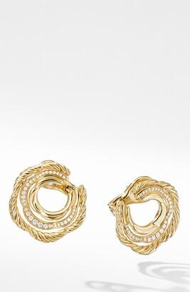 David Yurman Tides Huggie Hoop Earrings with Pave Diamonds