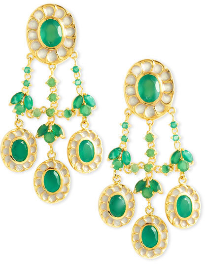 Isharya Green Onyx Chandelier Clip Earrings