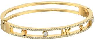 Michael Kors Heritage In Full Bloom Pave Rimmed Bangle with Logo Bracelet