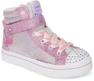 Skechers Twinkle Toes Twi-Lites Holla Glam Light-Up High Top Sneaker