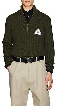 Gosha Rubchinskiy Men's Patch-Detailed Wool Quarter-Zip Sweater - Olive